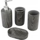 Decopatent® Badkamerset 4 Delig - Toiletaccessoires Set - Kunsstof - Zeeppompje - Tandenborstelhouder - Zeepschaal - Beker - Grijs