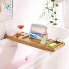 SONGMICS badplank van bamboe, uitschuifbare, verstelbare badplank, bakje met bekerhouder, boekensteun en zeephouder, (75-109) x 4,5 x 23 cm (B x H x D) BCB88Y